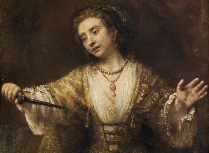 Detalle de Lucrecia, de Rembrandt, 1664. Imagen: (DP).