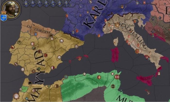 Mapa de Europa mostrando las dinastías reinantes. No, no hace falta que se arrodillen ante mí. A este paso, los Omeyas no tardarán en cortarme la cabeza.