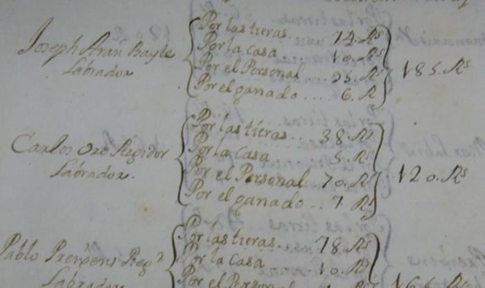 Página del catastro de Patiño con el impuesto de Josep Aran Bayle. Fotografía cortesía del Arxiu Històric de Lleida.