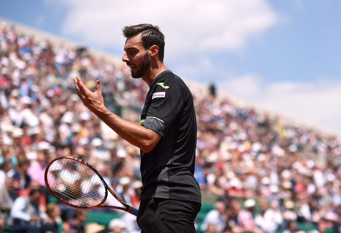 Marcel Granollers during his Second round men's singles match against Roger Federer on day four of the French Open at Roland Garros on May 27, 2015 in Paris, France