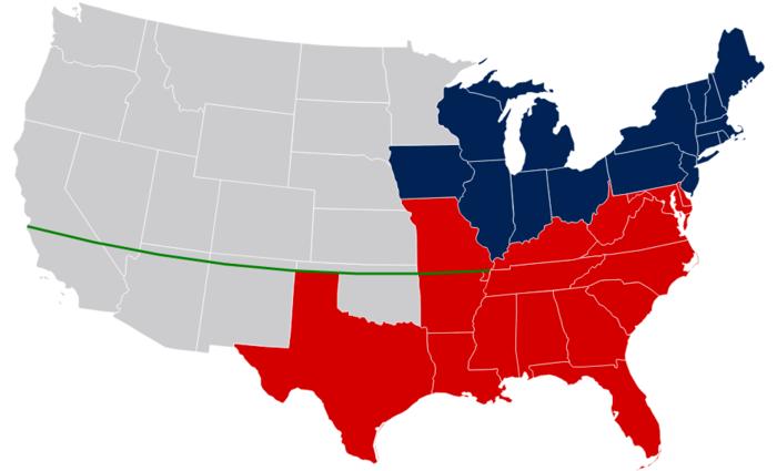 Mapa de los Estados Unidos c. 1849 (fronteras estatales modernas), con el paralelo 36 ° 30 'de latitud norte - estados esclavistas en rojo, estados libres en azul