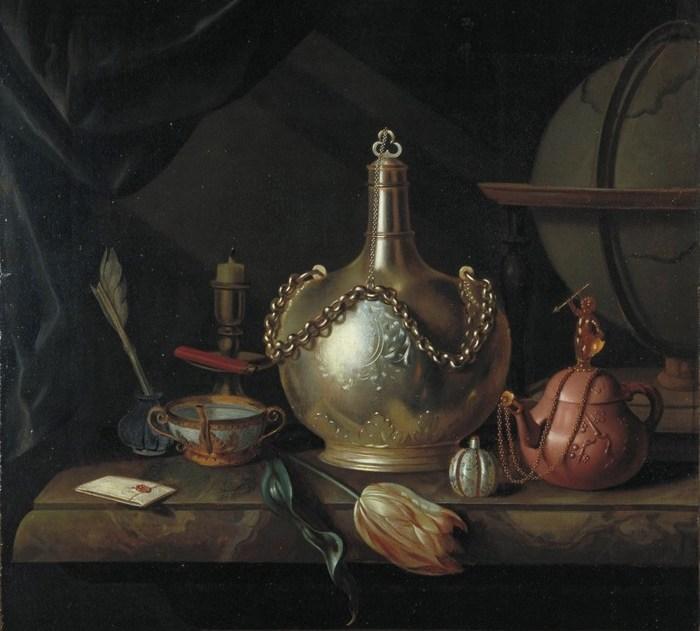 Detalle de Naturaleza muerta con jarra de plata, tulipán, tetera de Yixing y globo, de Pieter van Roestraten, ca. 1690. Imagen: DP.