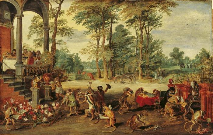 A Satire of Tulip Mania by Jan Brueghel the Younger (ca. 1640) speculators as brainless monkeys