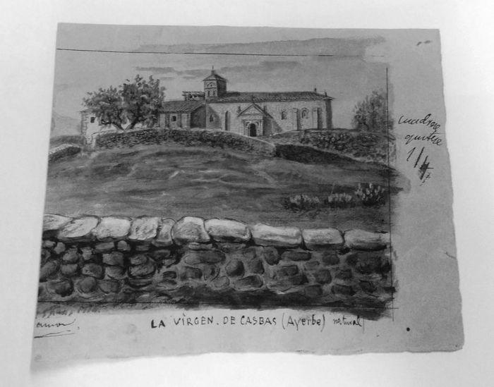 Acuarela sobre Ayerbe que Santiago Ramón y Cajal debió realizar a la edad de 12-13 años, conservada en el legado del Instituto Cajal. Imagen: Ángela Bernardo.