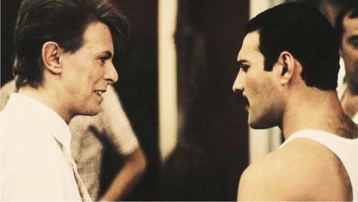 David Bowie y Freddie Mercury. Foto: Cordon.