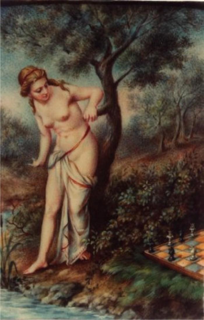 Caissa, la diosa del ajedrez, por Domenico Maria Fratta.
