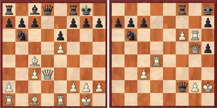Topalov-Caruana, en St. Louis, noviembre de 2016. A la izquierda, la posición antes del sacrificio de Topalov. Juegan blancas. Dg3!? Sacrificio dudoso, la verdad. A la derecha, la posición final, Caruana se rinde ante la inminente entrada de la dama blanca. La belleza.