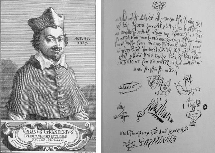 Urbain Grandier (izq,) y la prueba de su pacto diabólico (dcha.) Imágenes: DP.
