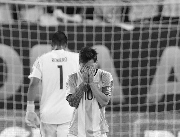 Jun 26, 2016; East Rutherford, NJ, USA; Argentina midfielder Lionel Messi (10) after missing penalty kick against Chile in the championship match of the 2016 Copa America Centenario soccer tournament at MetLife Stadium. Mandatory Credit: Adam Hunger-USA TODAY SportsCODE: X02835