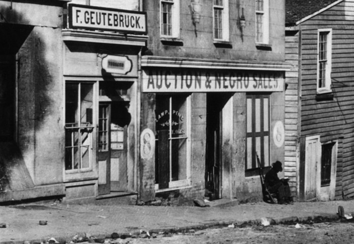 Atlanta, Georgia, USA --- Atlanta, Georgia-The slave market in Atlanta, GA, during the Civil War. Ca. 1860-1865. --- Image by © Bettmann/CORBIS