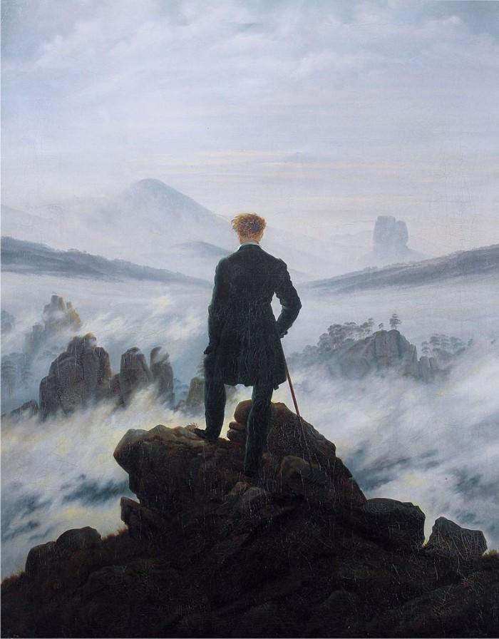 El caminante sobre el mar de nubes, de Caspar David Friederich.
