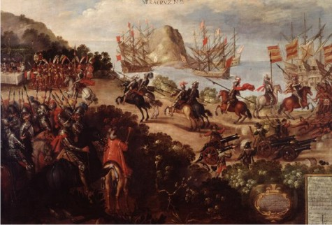 La llegada de Cortés a Veracruz y la recepción por los embajadores de Moctezuma, autor desconocido, mediados del siglo XVII.