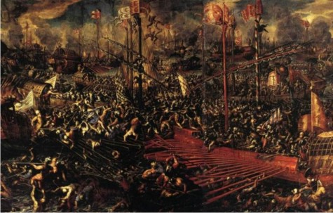 Detalle de La batalla de Lepanto, de Andrea Vicentino.