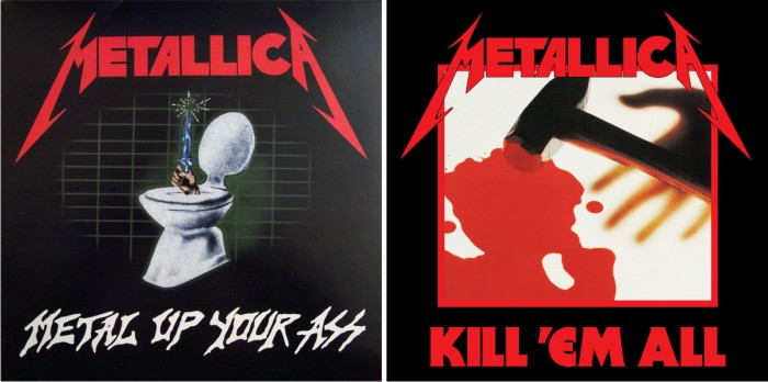 Portadas de Metal Up Your Ass y Kill 'Em All. Imágenes: Vertigo.