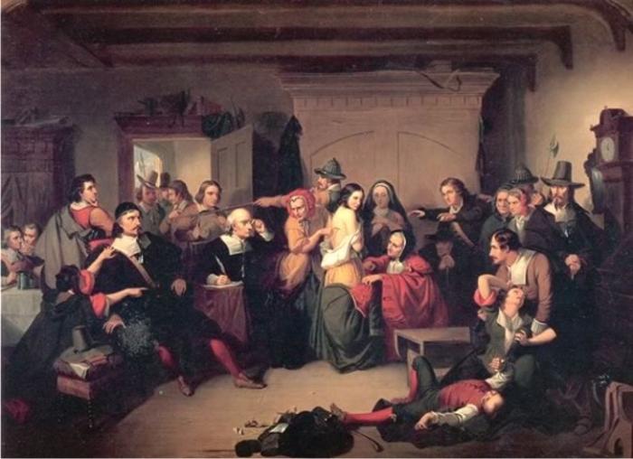 Examination of a witch inspirado por los juicios de Salem de Thompkins H. Matteson.