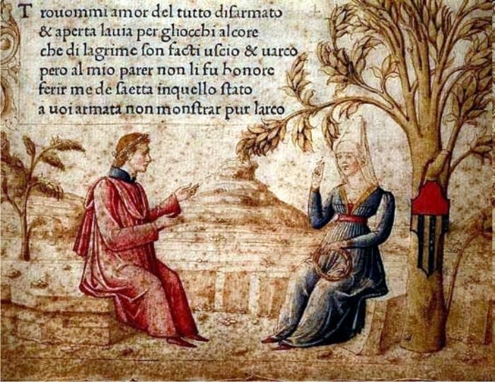 Laura e Petrarca miniatura dal Canzoniere