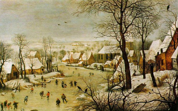 Pieter Brueghel el viejo Paisaje de invierno con patinadores y trampa para pájaros 1565 Bruselas 1