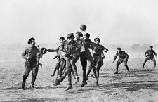 Armistice Day football match at Dale Barracks between german soldiers and Royal Welsh fusiliers to remember the famous Christmas Day truce between germany and Britain    PCH