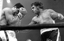 13 June 2016 - Muhammad Ali File Photos: Challenger Alfredo Evangelista, right, lands a right to Champion Muhammed Ali's midsection in the tenth round of their fifteen round heavyweight title fight at the Capitol Centre in Landover, Maryland on May 16, 1977.  Ali won the fight by a unanimous decision.  The fight was broadcast live on ABC.  Ali's purse was $2.7 million and Evangelista received $85,000. Photo Credit: Arnie Sachs/CNP/AdMedia Photo via Newscom
