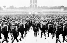 Members of the SS marching in formation on Nazi Party Day, Nuremberg. Germany, September 1937. (BSLOC_2014_7_7)