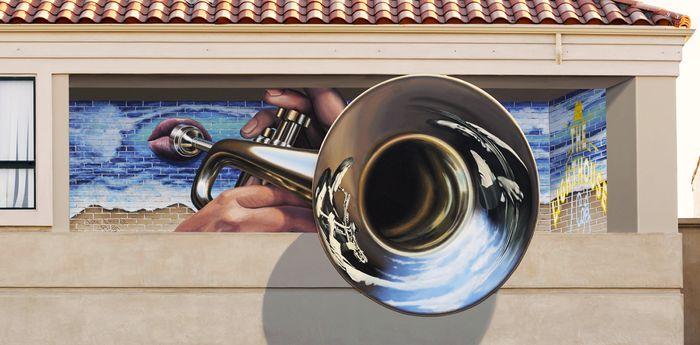 Key of C trompe loeil mural by John Pugh
