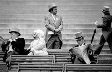 A group of spectators in the stands on Ladies' Day at the Royal Ascot race meeting at Ascot Racecourse, Berkshire, June 1977. (Photo by Eamonn McCabe/Getty Images)
