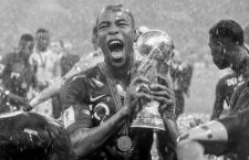 Djibril Sidibe of France celebrates with the trophy after winning the 2018 FIFA World Cup Russia, final football match between France and Croatia on July 15, 2018 at Luzhniki Stadium in Moscow, Russia - Photo Thiago Bernardes / FramePhoto / DPPI