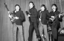 4 NOVEMBER 1963  THE BEATLES, PAUL MACARTNEY, JOHN LENNON, RINGO STARR AND GEORGE HARRISON, REHEARSE FOR ROYAL VARIETY PERFORMANCE AT THE PRINCE OF WALES THEATRE IN LONDON, ENGLAND.