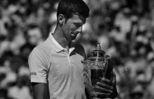July 15, 2018 - London, England, U.S. - LONDON, ENG - JULY 15: Novak Djokovic (SRB) with the trophy after defeating Kevin Anderson (RSA) in the men's singles final at the Wimbledon Championships on July 15, 2018 played at the AELTC in London, England. (Photo by Cynthia Lum/Icon Sportswire) (Credit Image: © Cynthia Lum/Icon SMI via ZUMA Press)