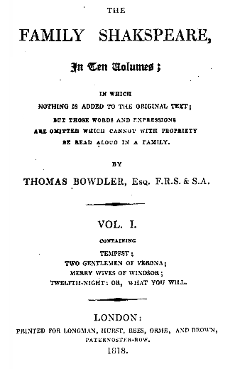 Bowdler title page