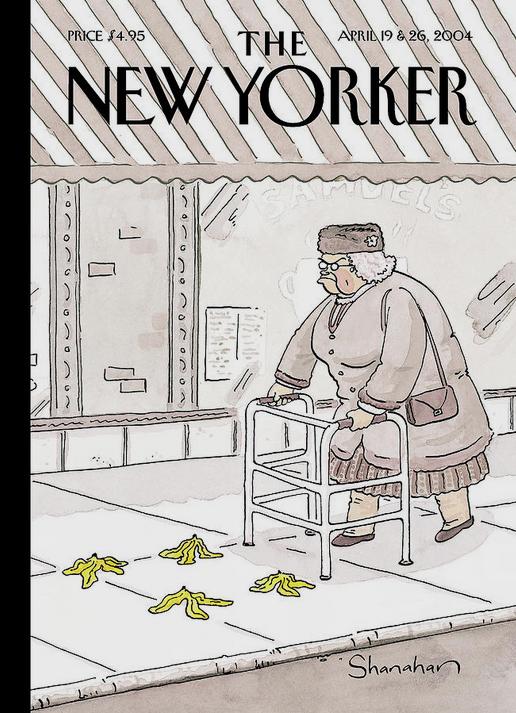 Danny Shanahan New Yorker cover banana peel