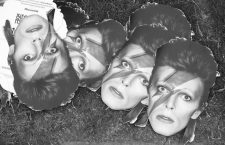 David Bowie masks lay on the floor during the Isle of Wight Festival, in Seaclose Park, Newport, Isle of Wight, on Saturday June 11.