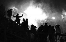 Disturbios en la grada de la 12 durante un encuentro entre River Plate y Boca Juniors, 2010. Fotografía: Cordon Press.
