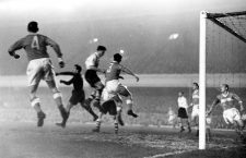 Arsenal v Spartak Moscow Action in front of the Spartak goal with the Russian defenders jumping up during the match played at Highbury this evening. 9th November 1954