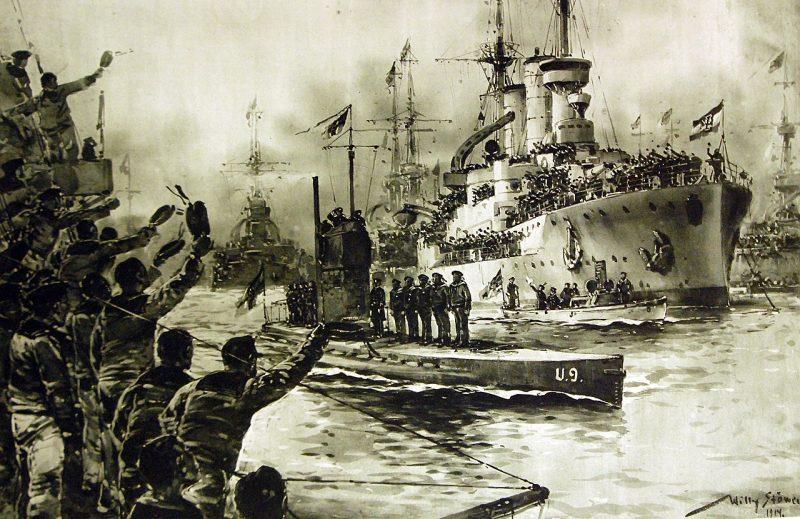 1280px German submarine U 9 on return Wilhelmshaven Germany Artwork by Willy Stower 1914 30175417300