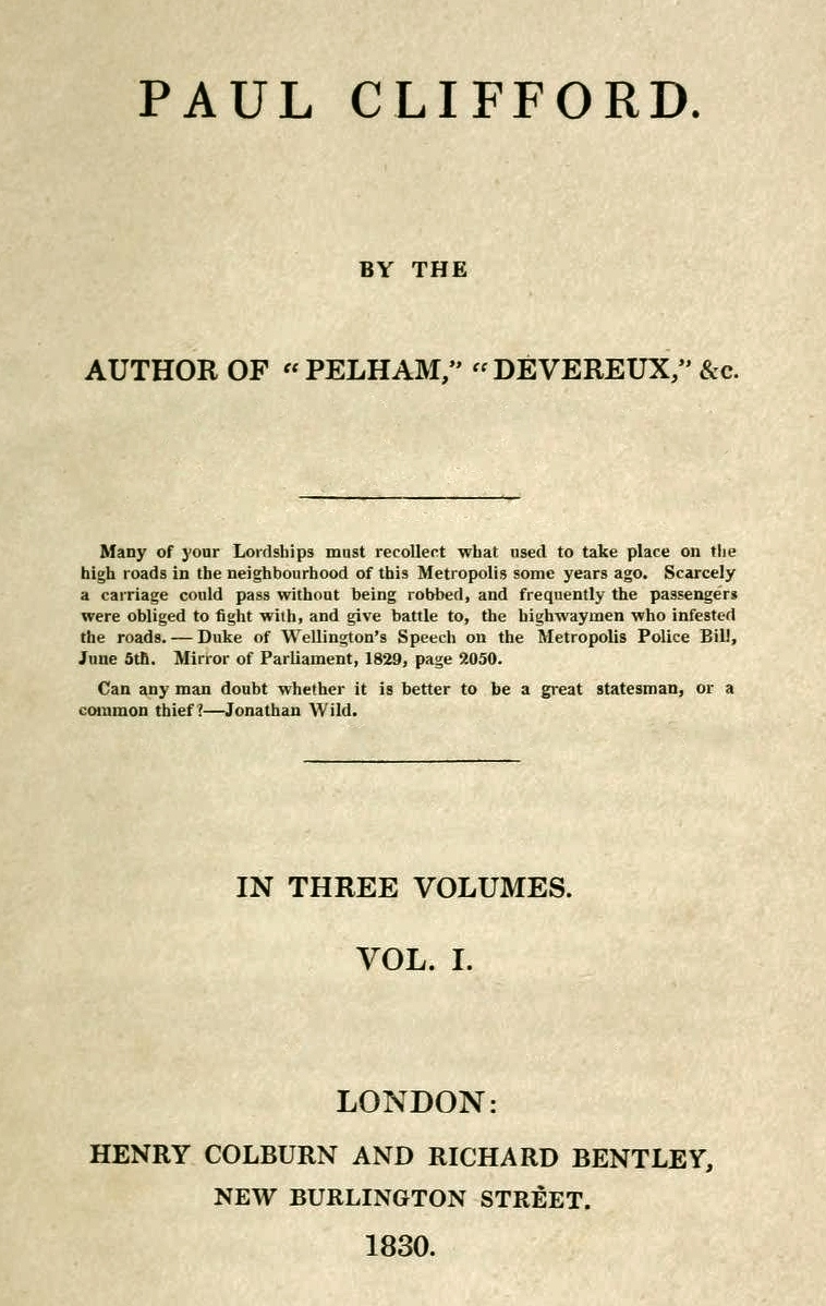Paul Clifford 1st ed