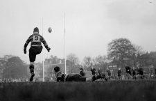 Richmond met Oxford University rugby team in a match at Richmond - photo shows C L Ashford the Richmond forward converting a try for Richmond  November 3rd 1934