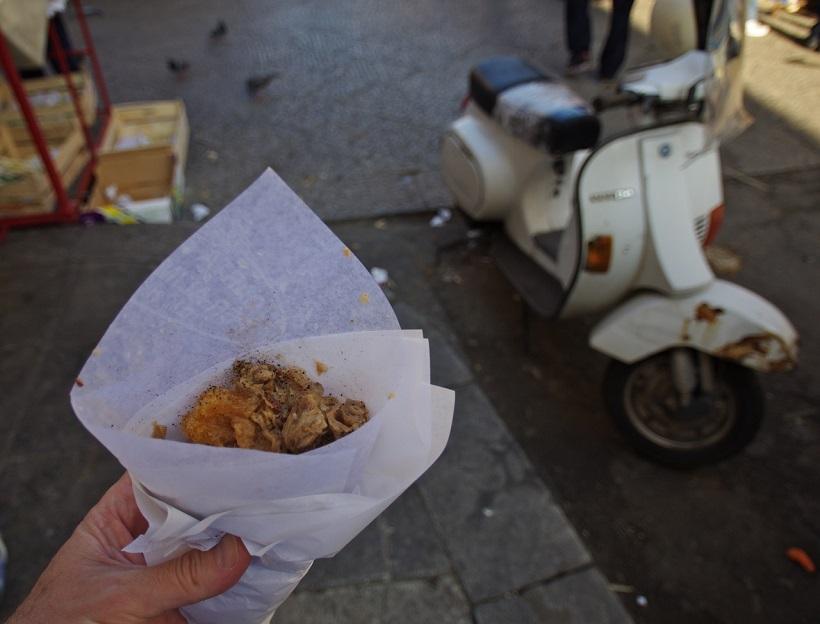 Frittola Vespa in Ballaro market Palermo