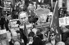June 3, 2019 - Manchester, Greater Manchester, UK - Manchester, UK. Vladimir Putin and Donald Trump I LOVE BREXIT placards . A Manchester Together Against Trump demonstration in Cathedral Gardens , central Manchester , during the first day of US President Donald Trump's visit to the UK  (Credit Image: © Joel Goodman/London News Pictures via ZUMA Wire)