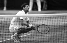 Novak Djokovic after beating Roger Federer in the mens singles final on day thirteen of the Wimbledon Championships at the All England Lawn Tennis and Croquet Club, Wimbledon.