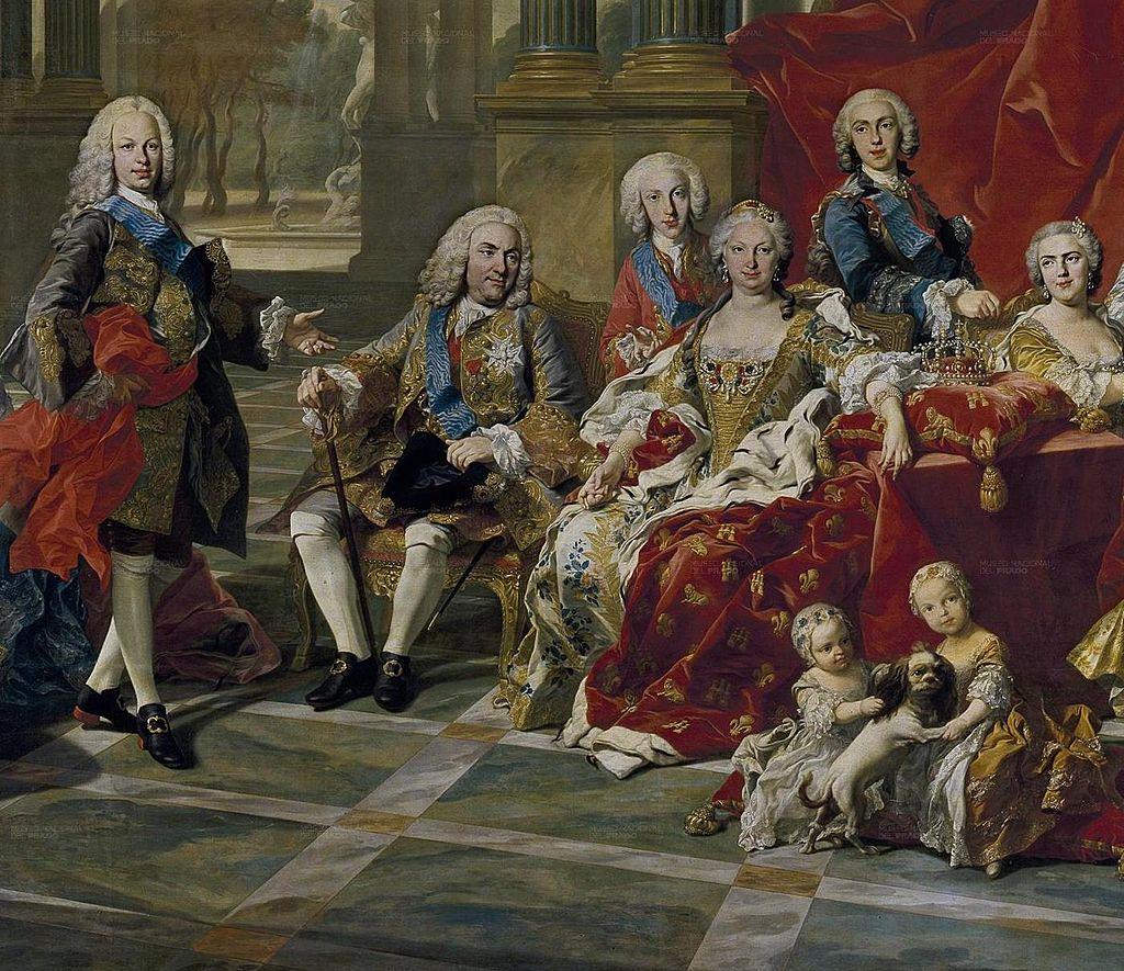 Detail of the 1743 portrait of the Family of Philip V of Spain Fernando Prince ofAsturias King Felipe Infante Luis Antonio Queen Elisabeth Infante Felipe and Princess Louise Élisabeth L M van Loo