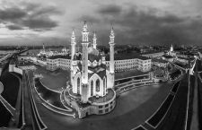 July 1, 2013, Kazan, Russia: Panoramic aerial view of Qolsharif Mosque at night, Kazan, Russia (Credit Image: © Airpano Llc/Amazing Aerial via ZUMA Wire)