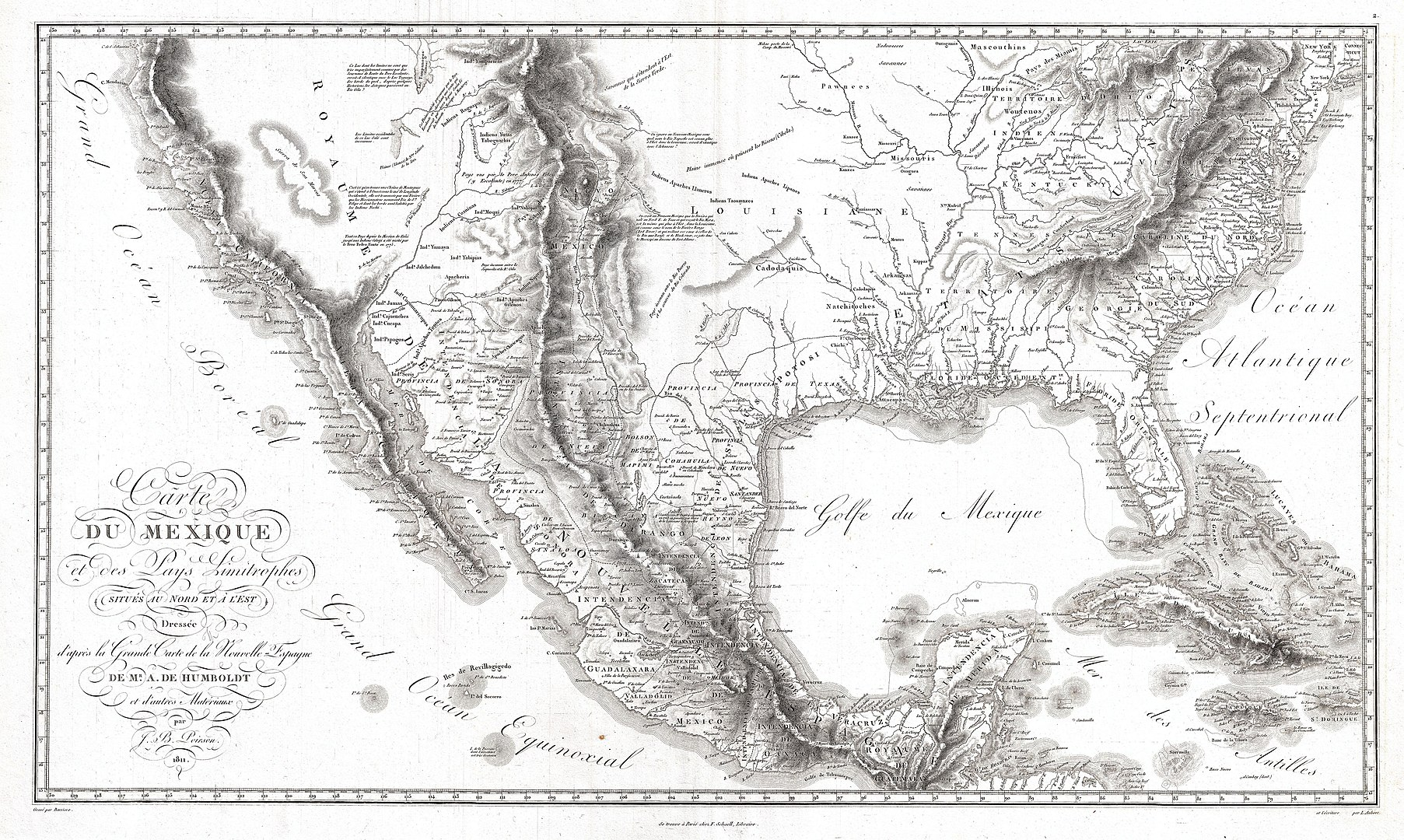1805px 1811 Humboldt Map of Mexico Texas Louisiana and Florida Geographicus Mexique humboldt 1811