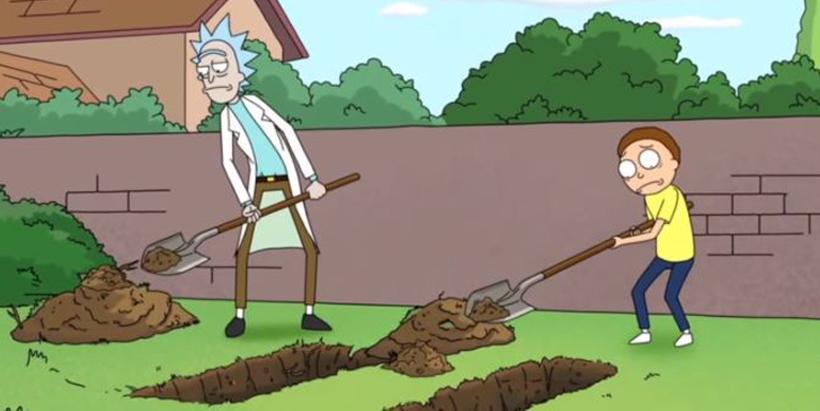 Rick and morty enterrando
