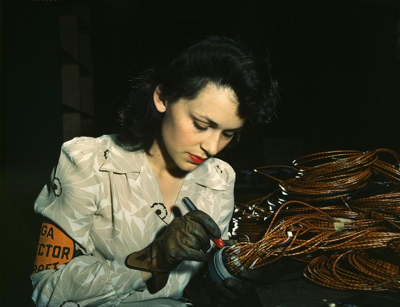 World War II woman aircraft worker Vega Aircraft Corporation Burbank California 1942