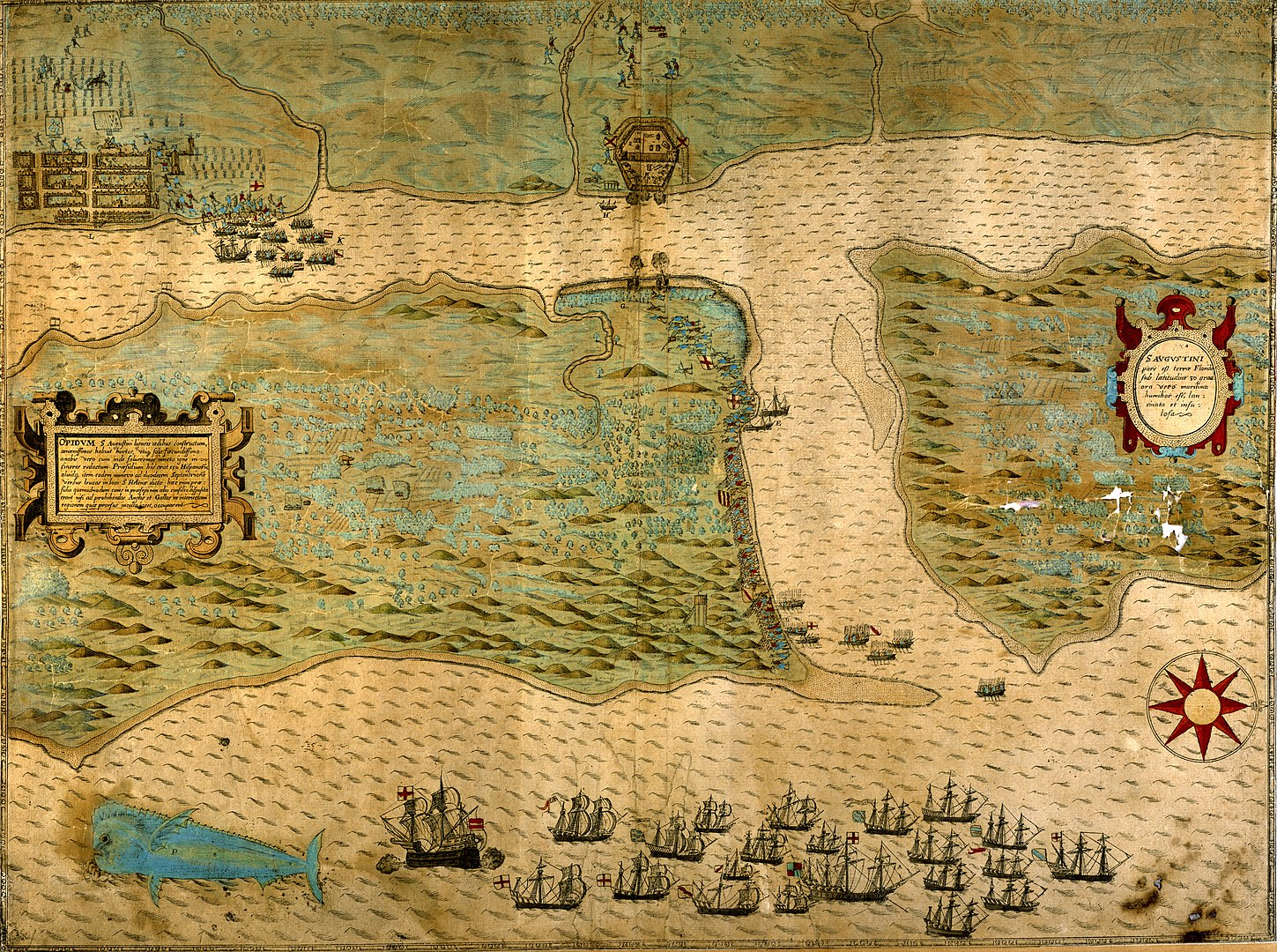 1449px Baptista Boazios Map of Sir Francis Drakes Raid on St. Augustine published in 1589 8879100326