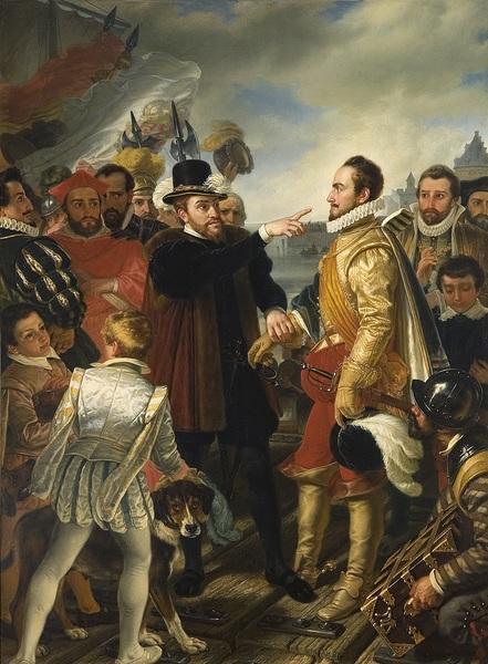 Felipe II reprendiendo a Guillermo el Silencioso príncipe de Orange de Cornelis Kruseman