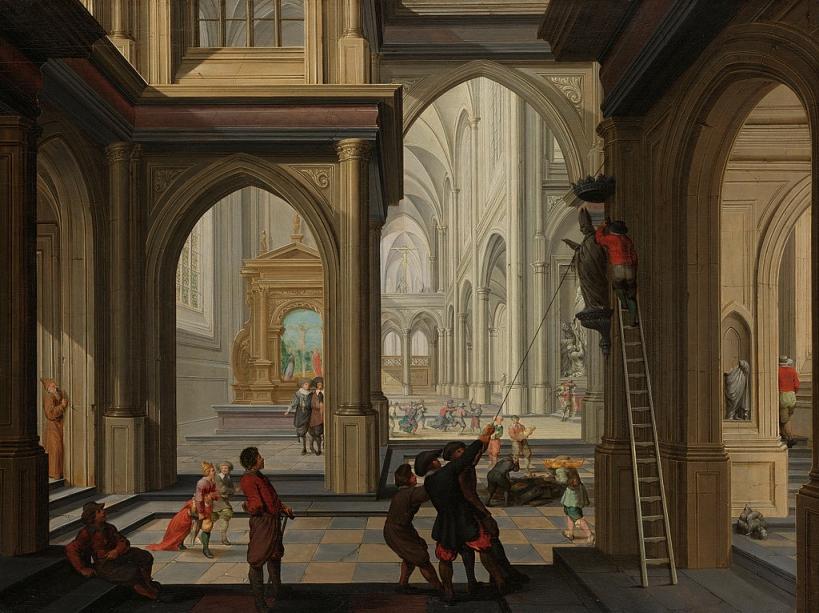 Iconoclastas en la iglesia de Dirk van Delen.