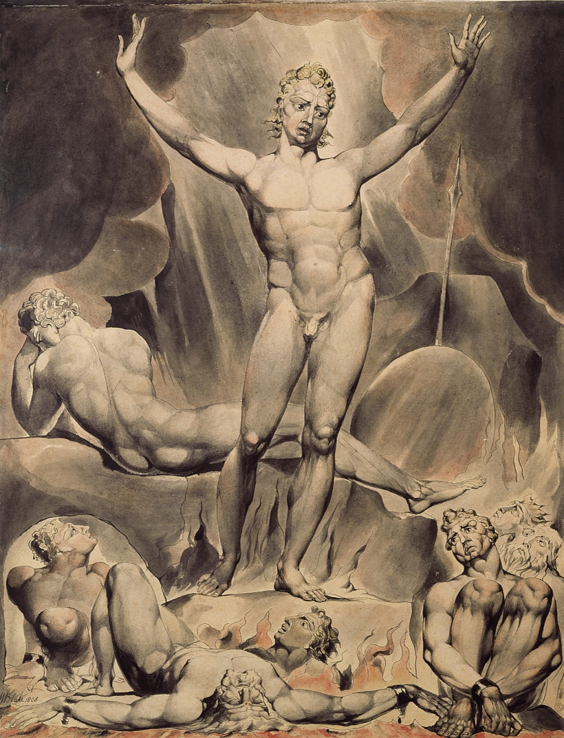Lucifer llamando a los ángeles a la rebelión por William Blake