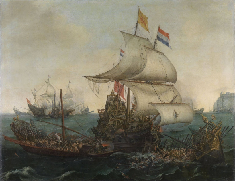 Vroom Hendrick Cornelisz Dutch Ships Ramming Spanish Galleys off the Flemish Coast in October 1602